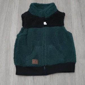 Carter's Green and Black Fuzzy Vest